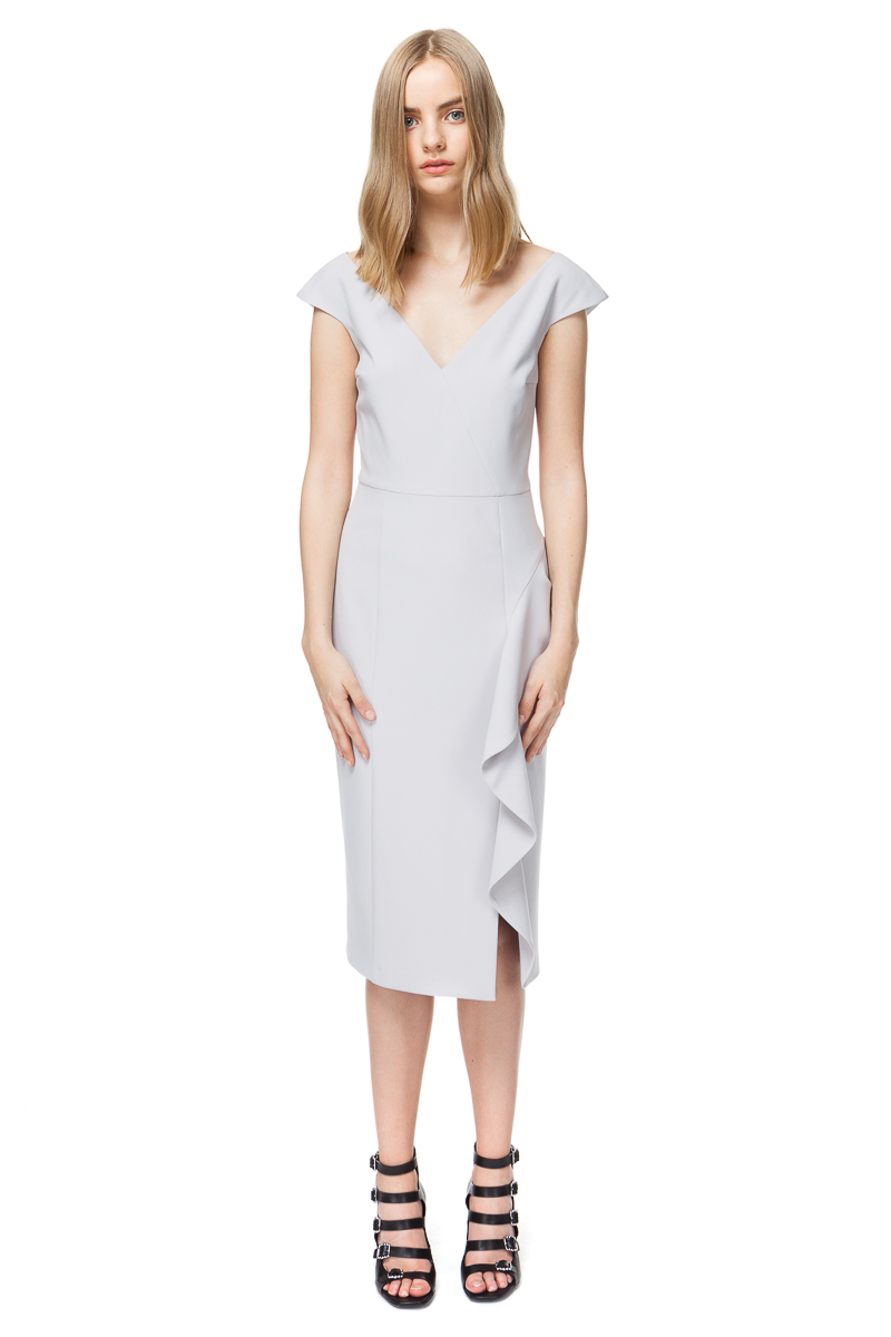 MEGAN fitted cocktail dress in quiet grey.