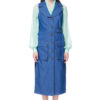 ARLENE sleeveless coat in blue stretch-denim.