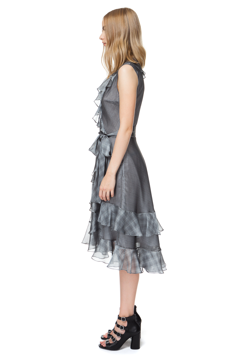 JOANNA ruffled dress with a belt in grey check.