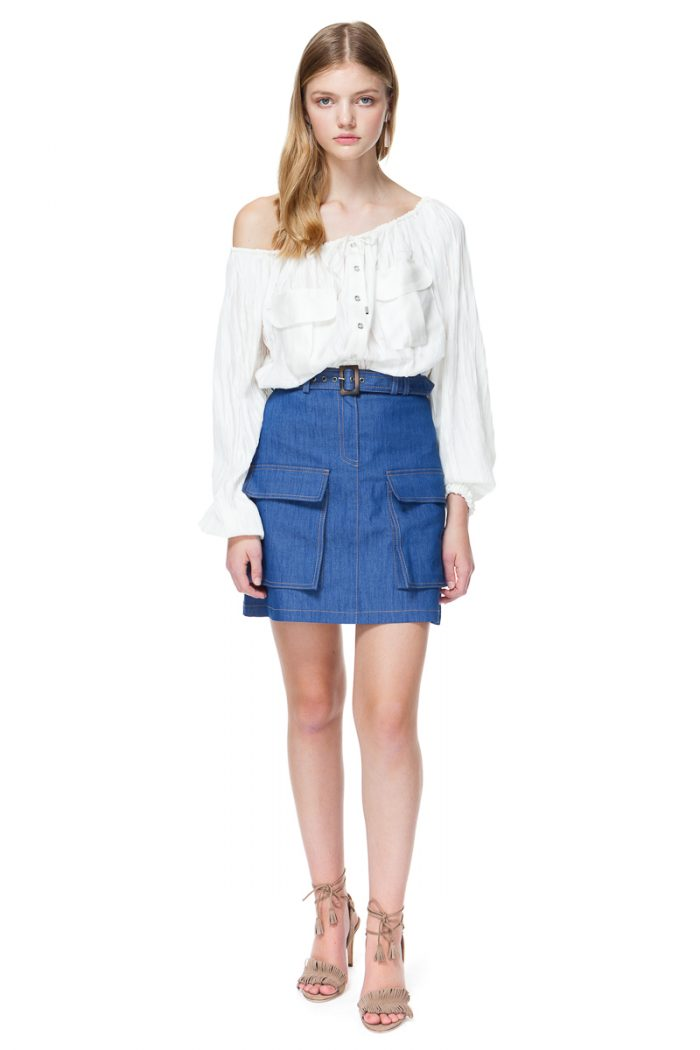 MARA off shoulder blouse with patch pockets.