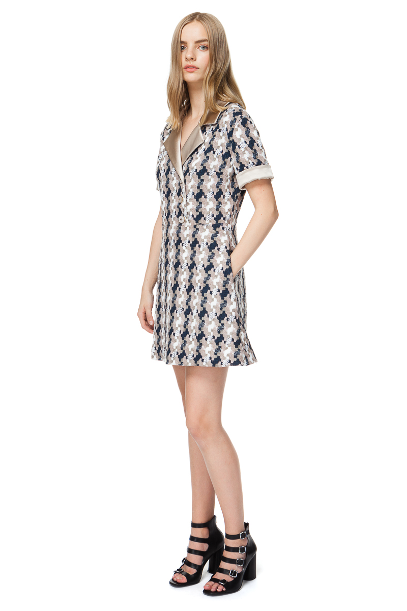 MORGAN tweed mini dress with lapel collar and two side pockets.
