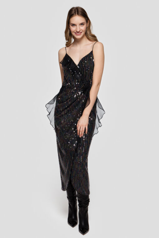 CARINE sequin wrap midi dress