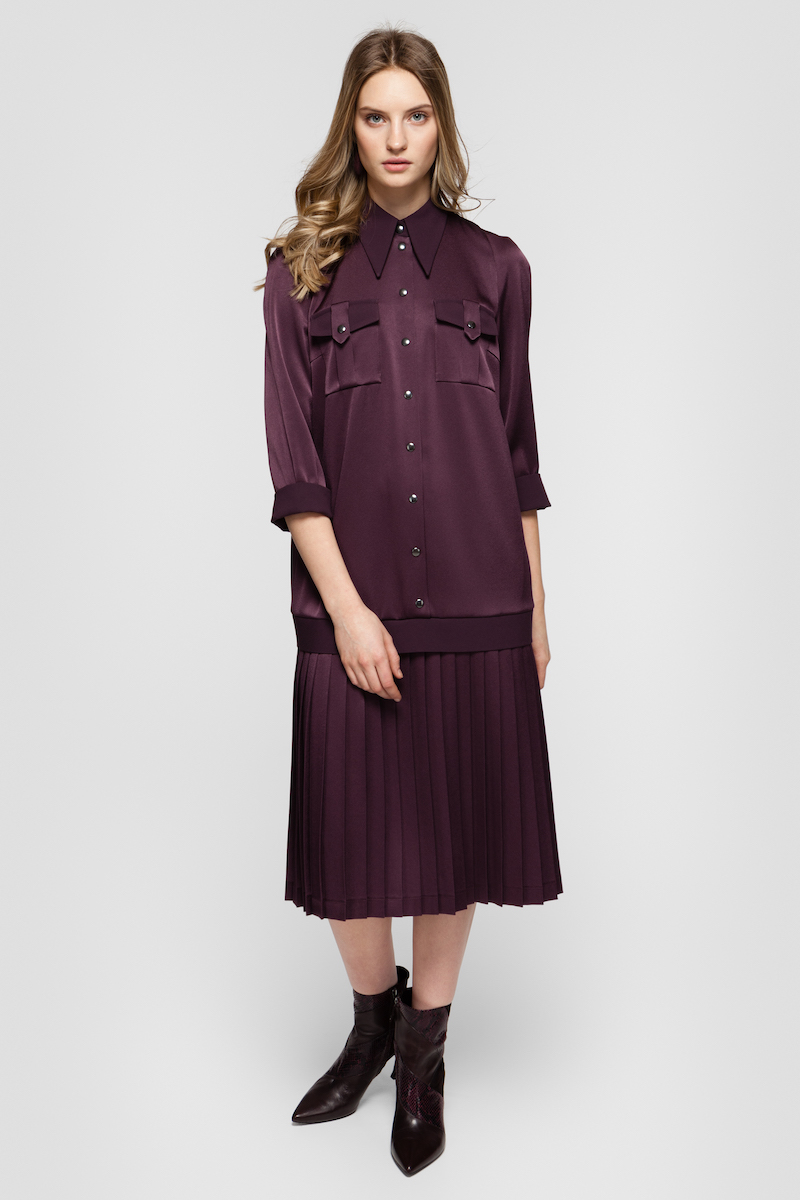 SONIA pleated shirt dress