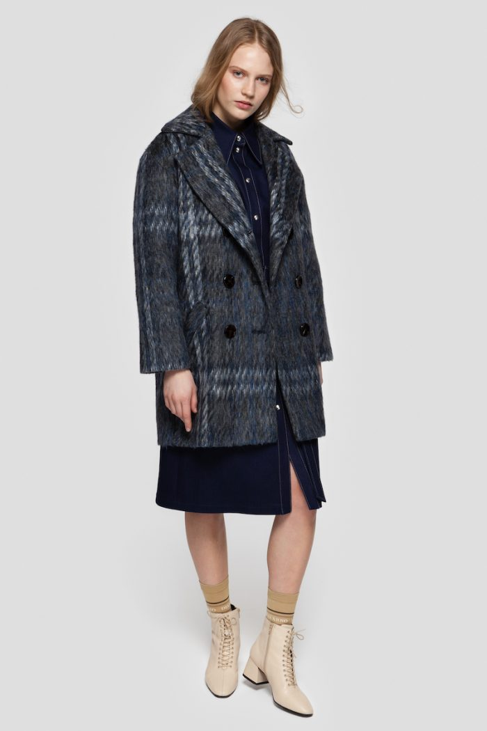 SALLY brushed coat in the muted blue shade