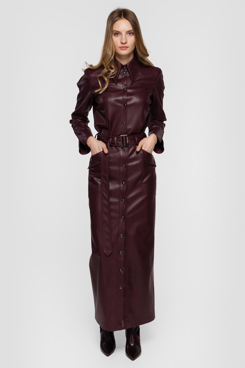 OLIVIA oversized faux leather shirt