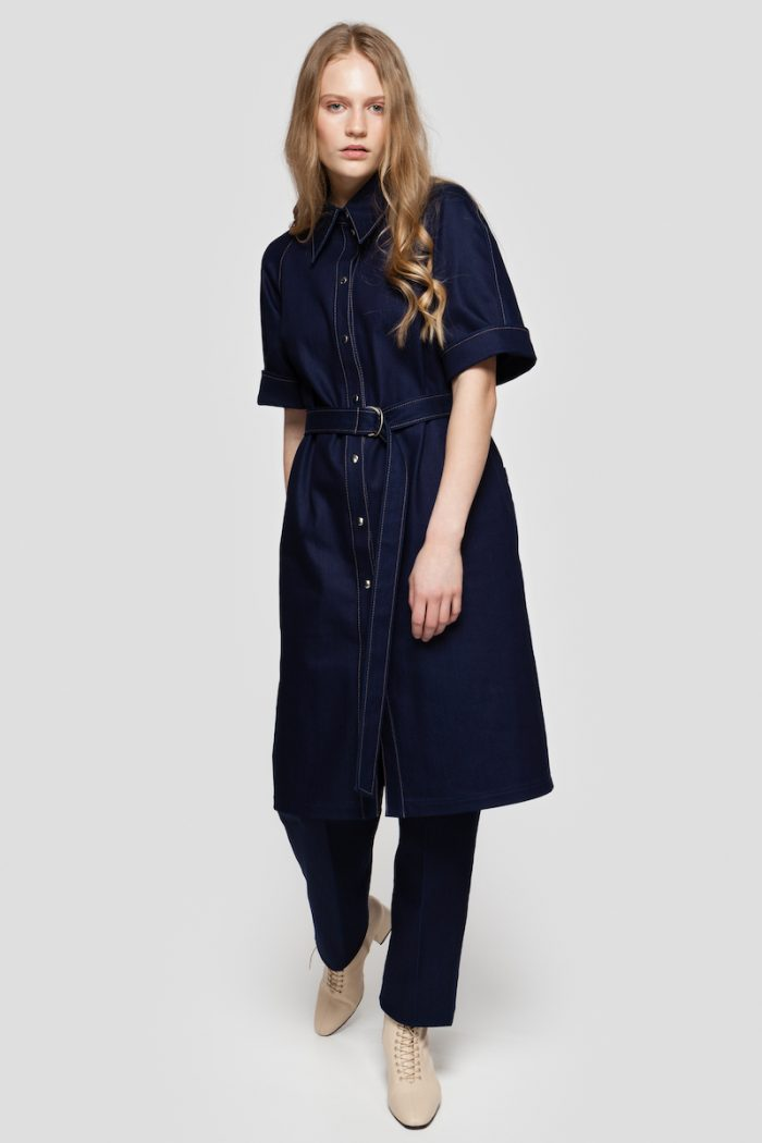 ALICE belted denim dress