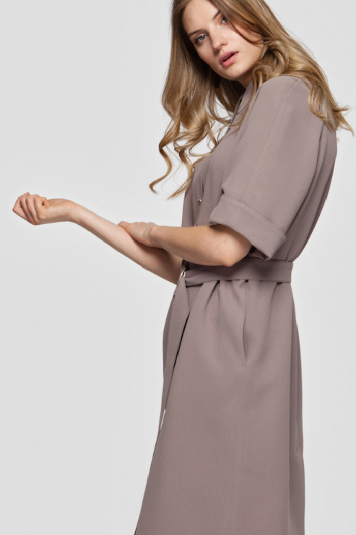 ALICE belted shirt dress