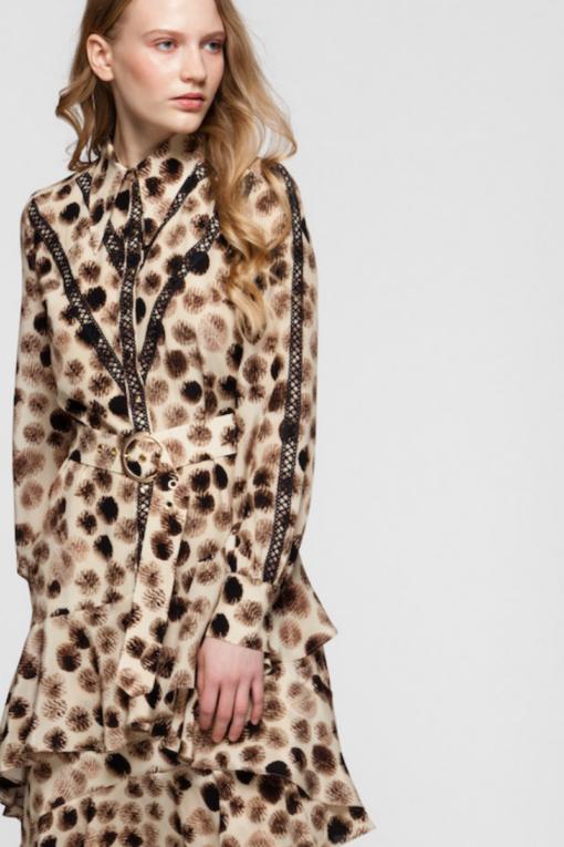 CECILE ruffled silk maxi dress
