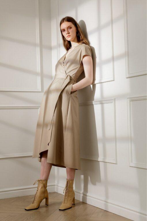 ADELE COTTON WRAP DRESS IN SANDY BEIGE