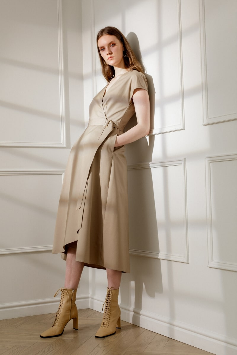 ADELE COTTON WRAP DRESS IN SANDY BEIGE