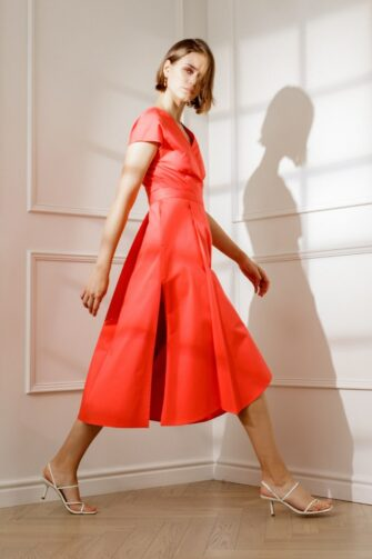 ADELE COTTON WRAP DRESS IN CORAL RED