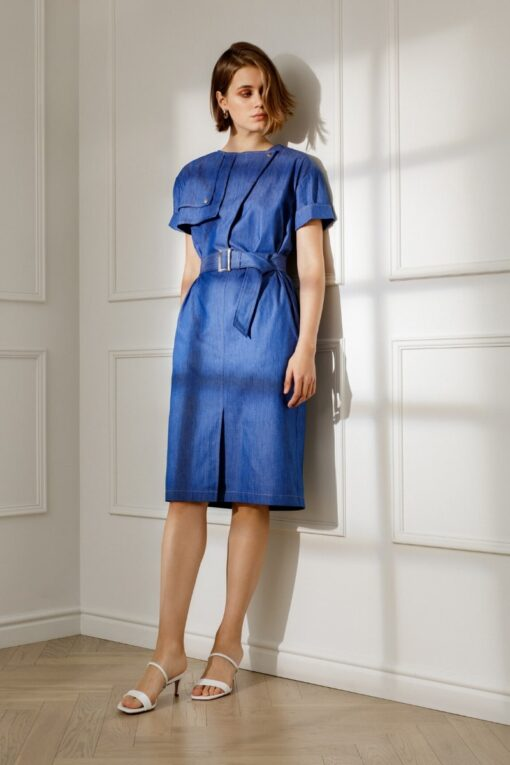 AGATHA DENIM DRESS IN BLUE
