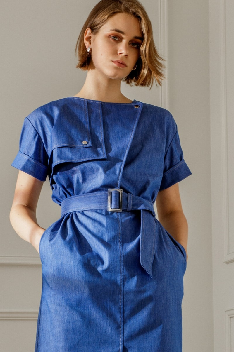 AGATHA DENIM DRESS IN BLUE