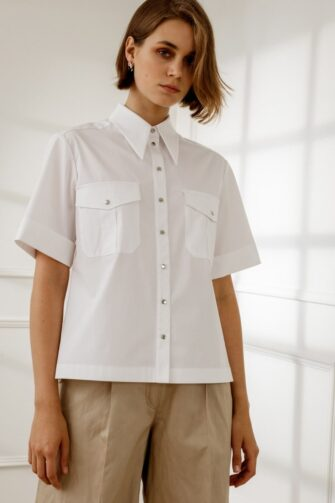 APRIL SHORT-SLEEVED BLOUSE IN PURE WHITE