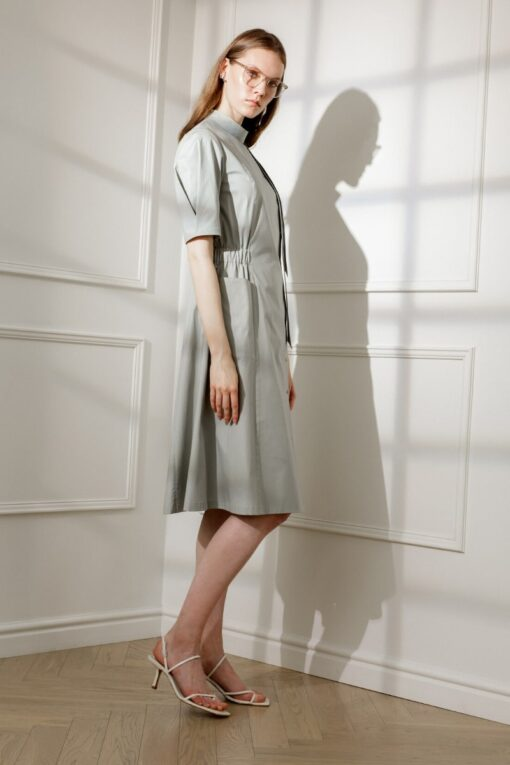 ESMEE DAY DRESS IN OLIVE-GREEN