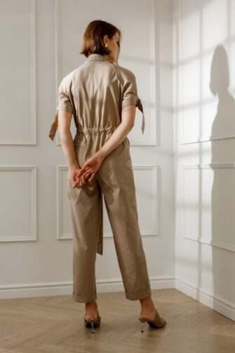 JETTA UTILITY JUMPSUIT IN SANDY BEIGE