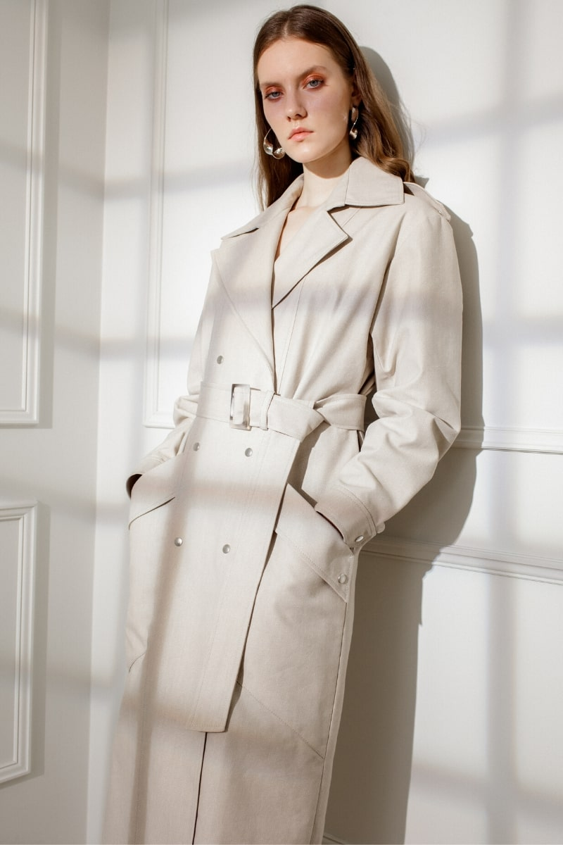 JUDITH DENIM TRENCH IN ALMOND MILK
