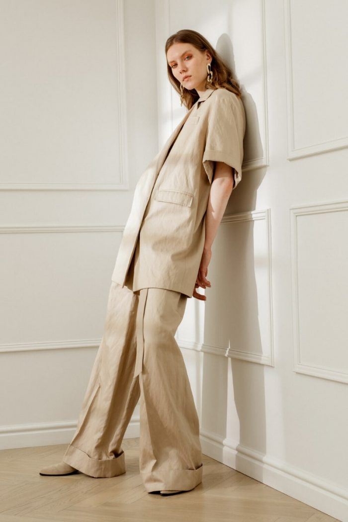 LOREN WIDE-LEG TROUSERS SANDY BEIGE