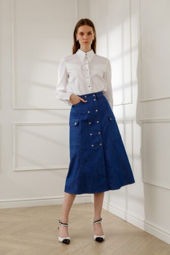 SASKIA A-LINE DENIM SKIRT IN BLUE