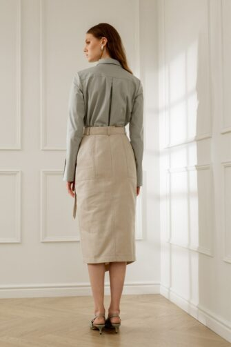 SUE BELTED PENCIL SKIRT IN ALMOND MILK