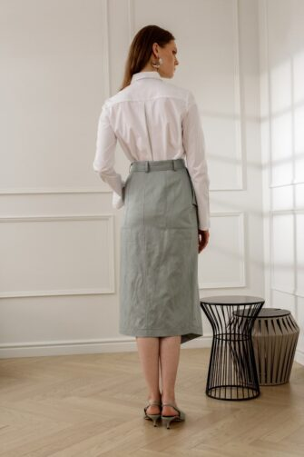 SUE BELTED PENCIL SKIRT IN MINT