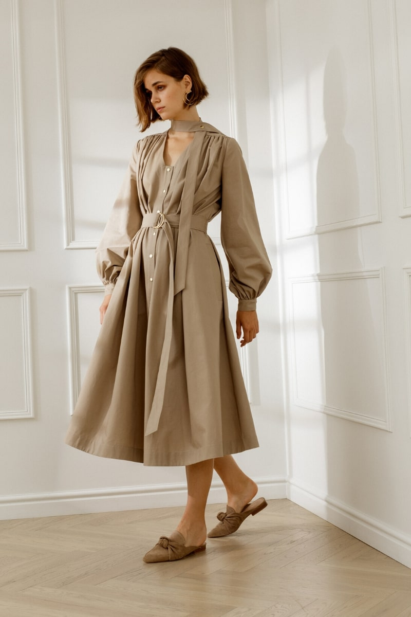 YVETTE OVERSIZED COTTON MIDI DRESS