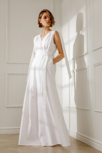 ANNE OPEN-BACK WHITE COTTON MAXI DRESS