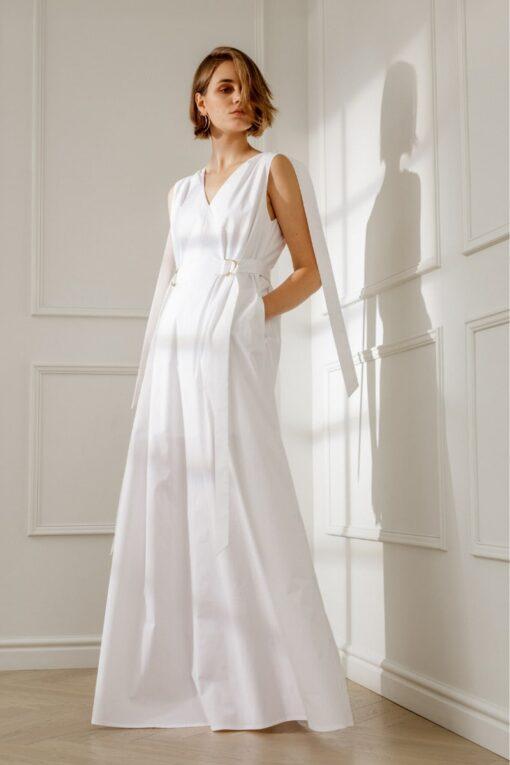 ANNE OPEN-BACK WHITE COTTON MAXI DRESS