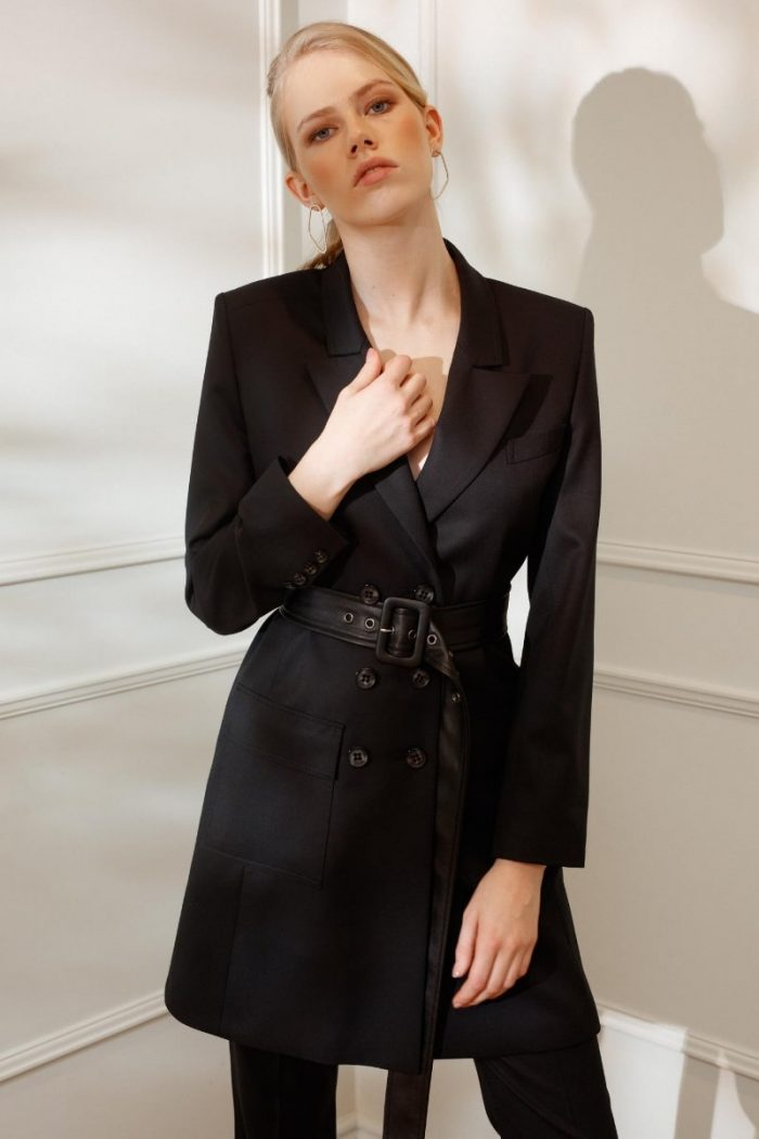 DIANA ARNO BIANCA BELTED BLAZER-DRESS IN MOONLESS NIGHT