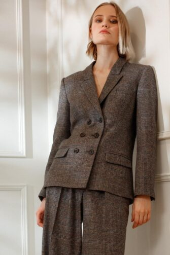 DIANA ARNO BLANCHE TAILORED BLAZER IN EARL GREY CHECK