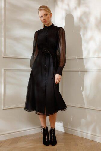 DIANA ARNO EMILY SILK SHIRT DRESS IN MOONLESS NIGHT