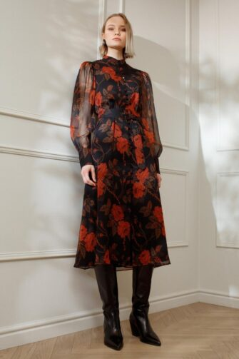 EMILY SILK SHIRT DRESS IN THORNY ROSES