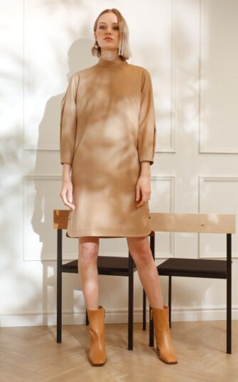 DIANA ARNO EMMA WOOL MINI DRESS WITH STATEMENT SLEEVES