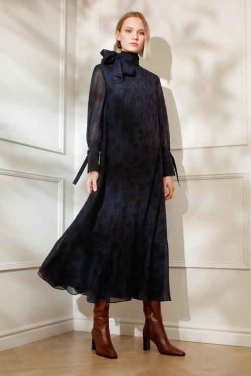 DIANA ARNO EVIE SILK MAXI DRESS WITH A BOW
