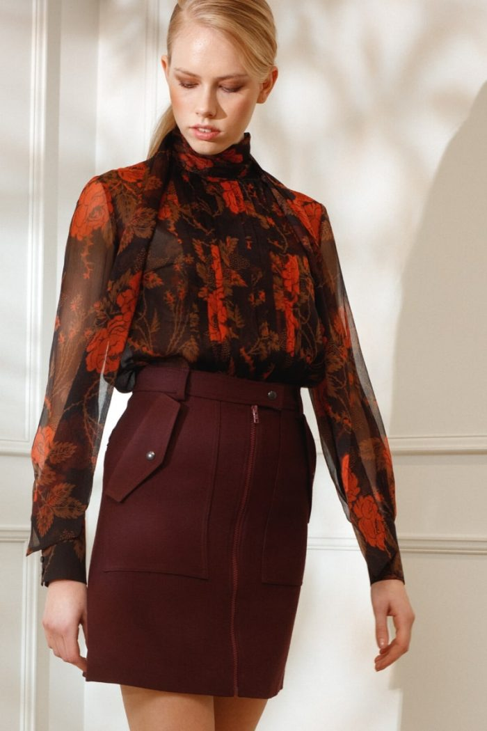 DIANA ARNO LELIA SILK BLOUSE IN THORNY ROSES