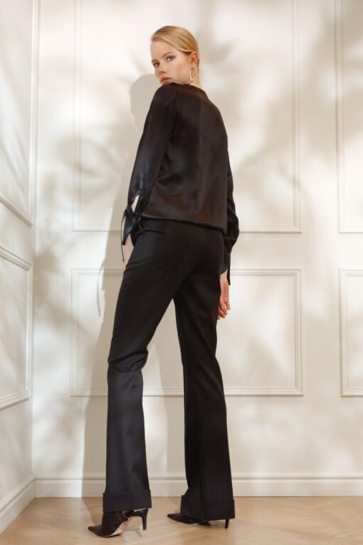 DIANA ARNO LILY DRAPED SILK BLOUSE IN SMOOTH BLACK