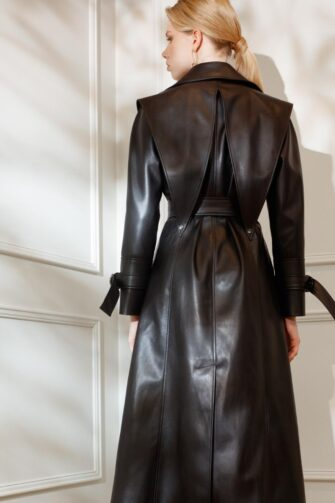 DIANA ARNO GIA VEGAN LEATHER TRENCH COAT