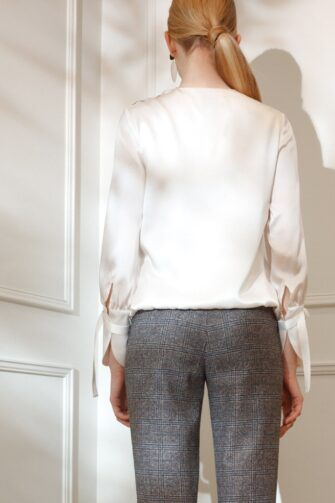 DIANA ARNO LILY DRAPED SILK BLOUSE IN DREAMY WHITE