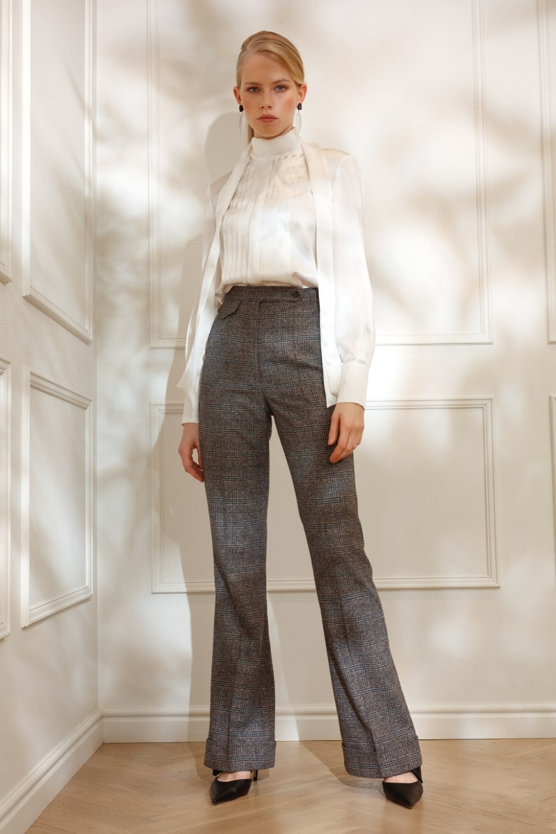 DIANA ARNO LISA FLARED TROUSERS IN EARL GREY CHECK