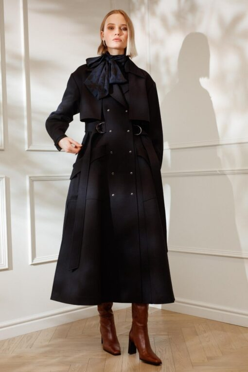 DIANA ARNO HOLLY MAXI LENGTH WOOL COAT IN NAVY