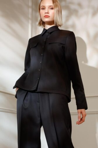 DIANA ARNO ALEXIA WOOL SHIRT IN MOONLESS NIGHT
