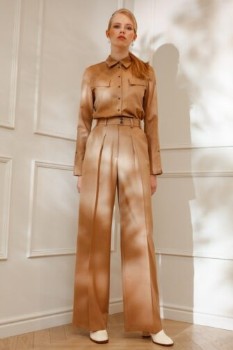 DIANA ARNO LAUREN WOOL TROUSERS IN SUNNY BEIGE
