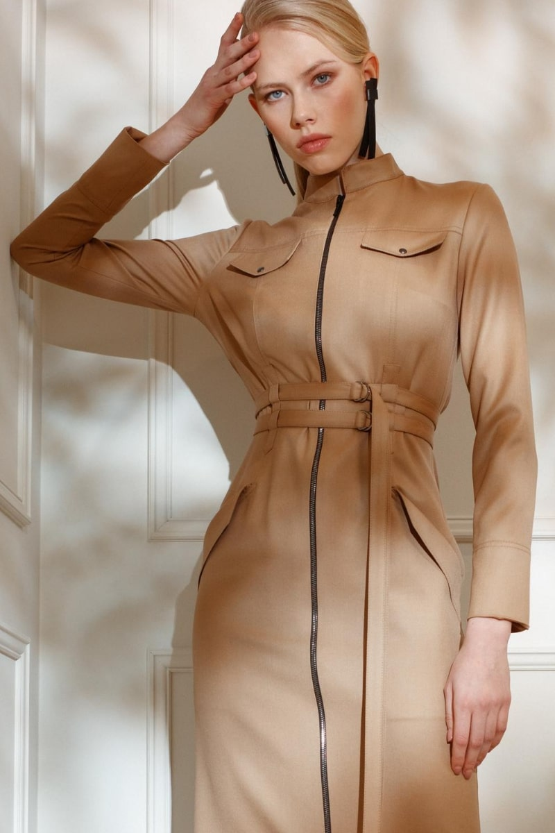 DIANA ARNO ANDREA BODYCON DRESS IN SUNNY BEIGE