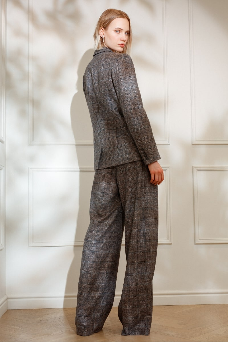 DIANA ARNO LAUREN WIDE-LEG TROUSERS IN EARL GREY CHECK