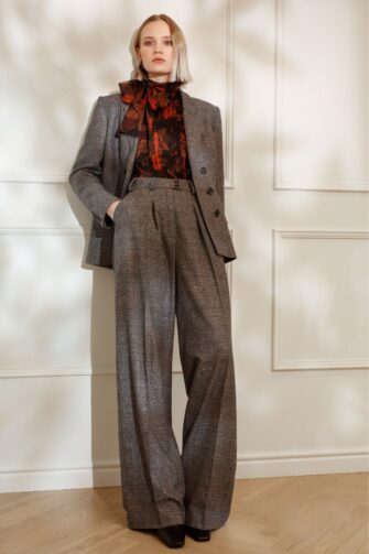 DIANA ARNO LAUREN WIDE-LEG TROUSERS IN EARL GREY CHECK