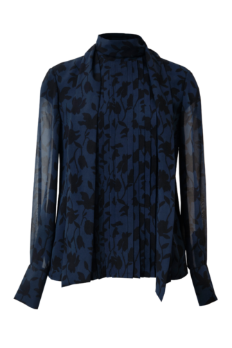 LELIA SILK SCARF BLOUSE IN BLUE FLORALS