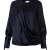 LILY DRAPED SILK BLOUSE IN SMOOTH BLACK