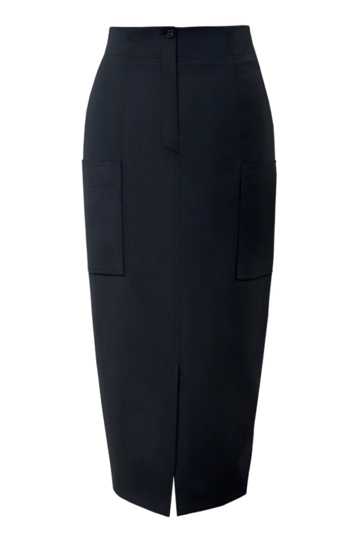 LEAH WOOL PENCIL SKIRT WITH PATCH POCKETS
