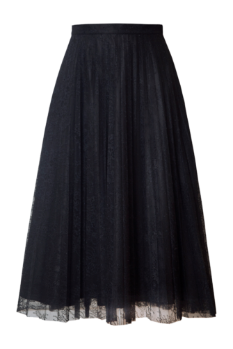 STELLA PLEATED LACE MIDI SKIRT IN MOONLESS NIGHT