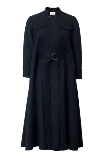 RENE WOOL CAPE DRESS IN MOONLESS NIGHT
